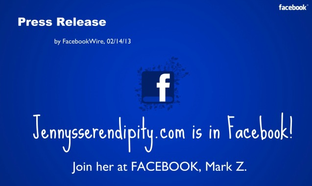 Jenny's Serendipity Press Release with Facebook