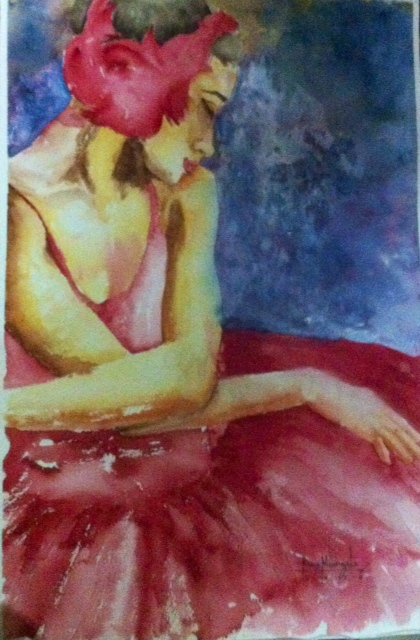 """""""My Passion"""" Water color on half sheet water ford paper 2014, Art by Ronna Manansala"""