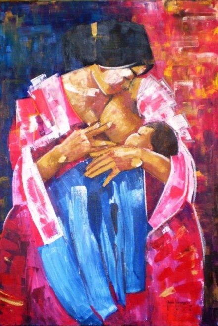 """Bandila, Mahal kong Ina"" 24 x 36 inches Acrylic on canvas 2014, Art by Ronna Manansala"