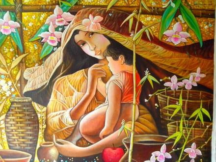 Homage to the Master Sa Piling ni Nanay  Acrylic on Canvas, 2014 Private Collection