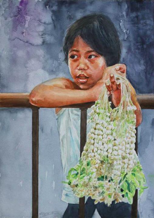 "Sampaguita vendor (2014), Watercolor on Fabriano Pad, 19.5"" x14"", Available."