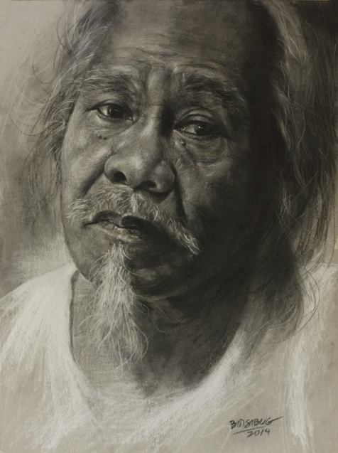 "Sir Aalfredo Liongoren, Pan Pastel, General Black & White Charcoal on Strathmore Toned Gray, 9"" x 12"", 2014."
