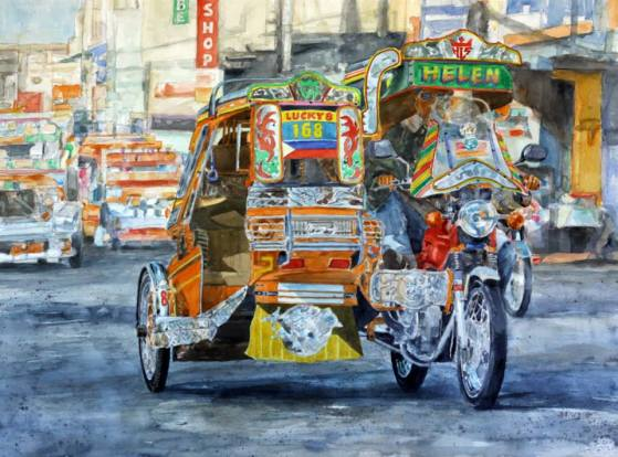 "Tricycle, Watercolor on Arches Paper,  21.5"" x 29.5"", Year 2014, Available for Sale"