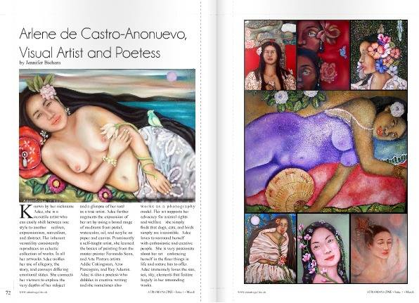 Art, Aura Magazine, Magazine, United Kingdom, UK, Filipino Community, Jennifer Bichara,  Arlene de Castro-Anonuevo, Artist Feature