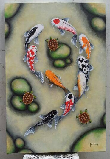 Ronna Lara-Bes and Her #GoodLuck #KoiFish #Paintings #Art #ArtPH #FilipinaArtist www.jennysserendipity.com
