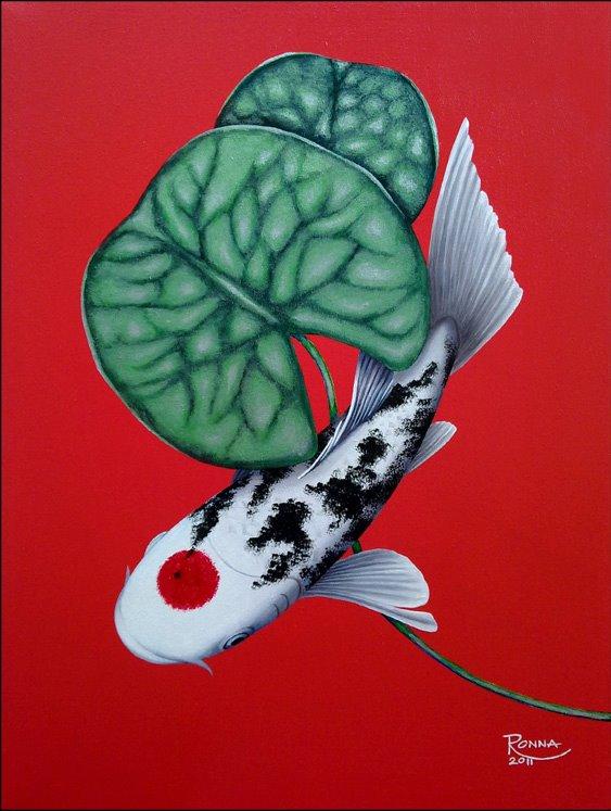 Ronna Lara-Bes and Her #GoodLuck #KoiFish #Paintings #Art #ArtPH #FilipinaArtist www.jennysserendipity.com