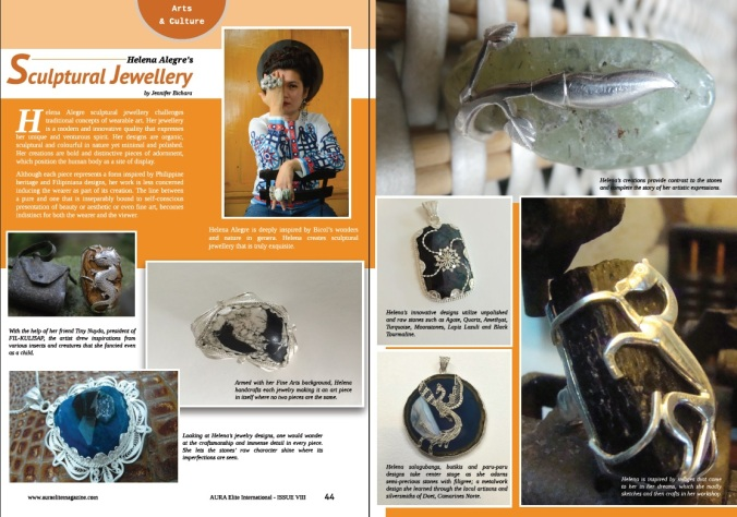 Aura Elite Magazine (UK): Helena Alegre's Sculptural Jewelry
