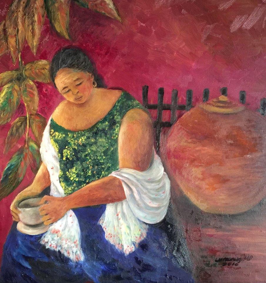 Dr Elden Lumaniog Artwork N A N A Y, 24 x 24, Oil on Canvas, Galerie De Las Islas presents SINCO BICOLANOS