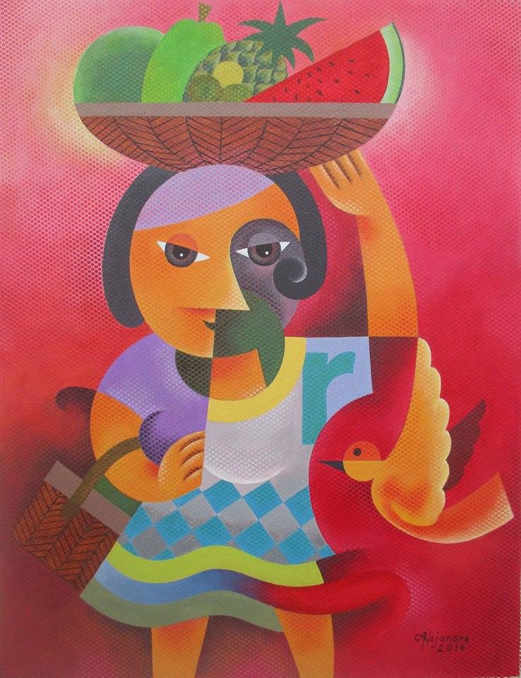 Hermel Alejandre Artwork FRUIT VENDOR, Acrylic on Canvas, 26x20inches Galerie De Las Islas presents SINCO BICOLANOS