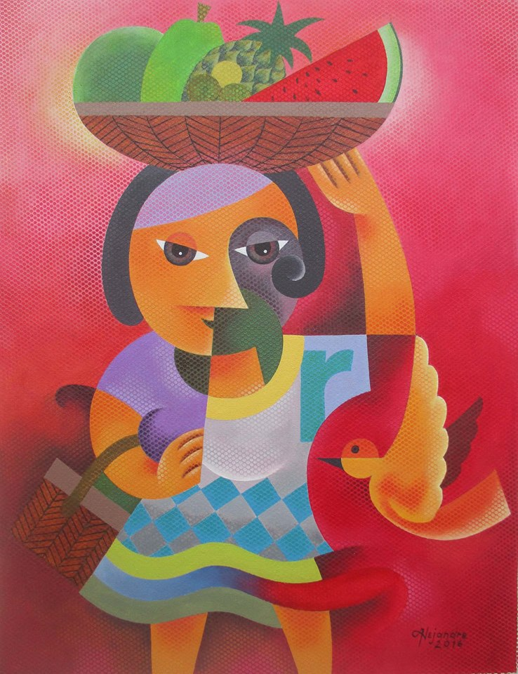 Hermel Alejandre Artwork FRUIT VENDOR, Acrylic on Canvas, 26x20inches Galerie De Las Islas presents SINCO BICOLANOS