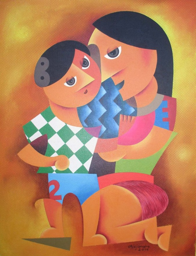 Hermel Alejandre Artwork MOTHER AND CHILD 17, Acrylic on Canvas, 26x20inches Galerie De Las Islas presents SINCO BICOLANOS