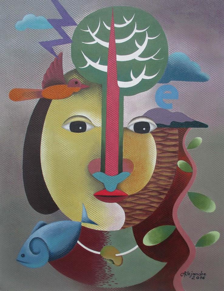 Hermel Alejandre Artwork MOTHER TREE, Acrylic on Canvas, 26x20inches Galerie De Las Islas presents SINCO BICOLANOS