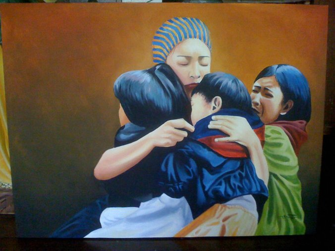 Roderick Imperio Artwork HINDI MAGKHIWALAY Acrylic on Canvas Galerie De Las Islas presents SINCO BICOLANOS Artist