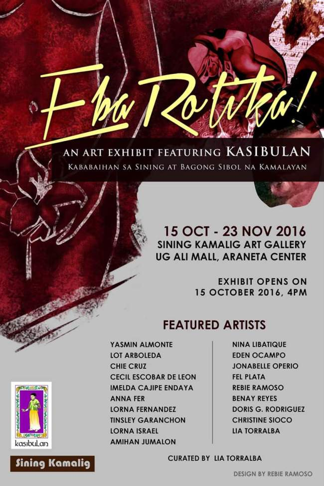 EbaRotiKa – Kasibulan Group Art Exhibit (Oct 15-Nov 23)